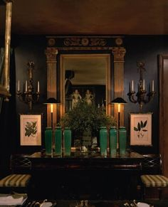 Glorious greens accent this grand room designed by Anouska Hempel. ~Splendor