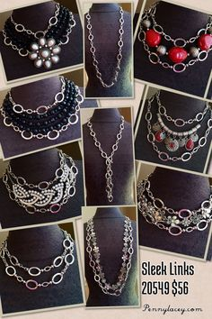 Premier Designs Sleek Links necklace is a must have staple piece for your jewelry box. You can use it to create so many great looks. This is just a few. See more jewelry combinations at www.pennylacey.com