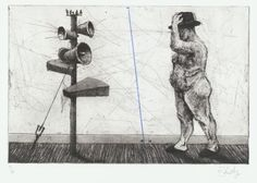 "Untitled (Man with Megaphone Cluster)  William Kentridge (South African, born 1955)    1998. Etching, aquatint, drypoint, and engraving with roulette and crayon additions, plate: 9 13/16 x 14 15/16"" (24.9 x 37.9 cm); sheet: 13 11/16 x 19 9/16"" (34.7 x 49.7 cm). Publisher: Kunstverein München, Munich, Germany and William Kentridge, Johannesburg. Printer: The Caversham Press, Balgowan, KwaZulu-Natal, South Africa. Edition: 70. Mary Ellen Meehan Fund. © 2012 William Kentridge"