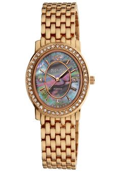 Price:$64.29 #watches August Steiner AS8043RG, This August Steiner women's watch displays genuine diamonds on the dial and is complete with stunning bracelet. The oval case, with mother of pearl dial and beautiful crystal filled bezel, the timepiece is functional and attractive.
