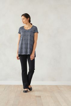 Easy style in our Pure Jill scoop-neck elliptical tee and barely boot-cut pants