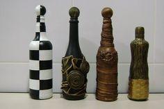 Reciclagem com garrafas decoradas,pratos