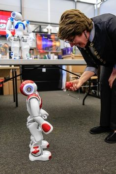 A robot in the library?! This one speaks 19 languages and helps patrons learn about the complicated coding that robots require.