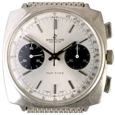 manual winding movement cal. Valjoux 7730, 36.8 x 36.8mm. case, tachymeter dial. A tachymeter scale measures how fast an object is moving. The scale can be found either on the dial or in the bezel. Most tachymeters start at 400 and end at 60, but some models can show different numbers.  The Breitling Top Time was conceived in the early 60s as a cheaper entry level range of Breitling chronographs; one of the highlights here is the stunning dials which make it a popular choice.