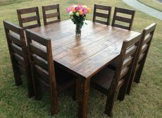 Square farmhouse table - would love this on our new patio! Square Dining Tables, 8 Person Dining Table, Pub Tables, Restaurant Tables, Rustic Farmhouse, Rustic Kitchen, Farmhouse Ideas, Home Projects, Home Furniture