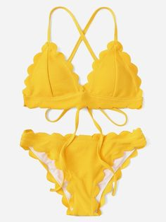 Shop Criss Cross Self Tie Top With Scallop Trim Bikini Set online. SHEIN offers Criss Cross Self Tie Top With Scallop Trim Bikini Set & more to fit your fashionable needs. Bathing Suits For Teens, Cute Bathing Suits, Swimwear Fashion, Bikini Fashion, Mode Du Bikini, Scalloped Bikini, Bandeau Bikini Set, Bikini Swimwear, Bikinis For Sale