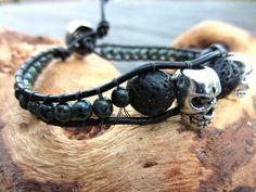 Skull Bracelet Bullet Jewelry Lava Stone by RoseMoonBoutique