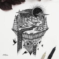 Heres a beautiful piece of by Meni Chatzipanagiotou ( of a wonderful nocturnal landscape. Looking at this for a few minutes I found myself imagining that I awoke in the cabin. and it was like waking into a dream. Relaxing in a wood cabin on a Natur Tattoo Arm, Natur Tattoos, Watercolor Landscape Paintings, Landscape Drawings, Kunst Inspo, Art Inspo, Cool Art Drawings, Art Sketches, Ink Drawings