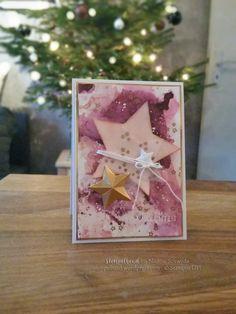 Stampin UP Weihnachtskarte mit Stern in Himberrot, Kirschblüte und Brombeermousse