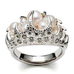 Dane jar trap ring  danger trap Ring, 2.5 · 3mm / gray diamond 0.24ct white gold / Akoya pearls 3.5 ~ 5.5mm / freshwater pearl