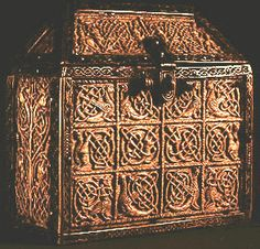 """Gandersheim Reliquary  Photo of 8th century carved walrus ivory casket with bronze fittings from the Gandersheim Monastary. Thought to have been manufactured in southern England. Size 5"""" x 2-5/8"""" x 5"""" (12.7cm x 6.67cm x 12.7cm). From the collection of the Herzon-Anton-Ulrich-Museum. Click on thumbnail to see full-sized image."""