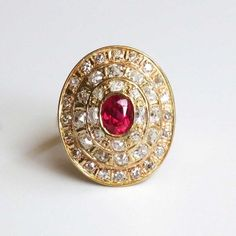 1940's Ruby and Triple Halo of Old Mine Cuts Diamond Ring 14k/18k SOLD: 1/11/15 | Antique and Estate Jewelry | Jewelry Finds