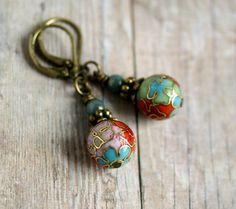 bohemian cloisonne beaded brass drop earrings. $9.00, via Etsy.