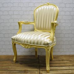 Antique Gold French Style Louis Arm Chair with Cream Stripe Fabric