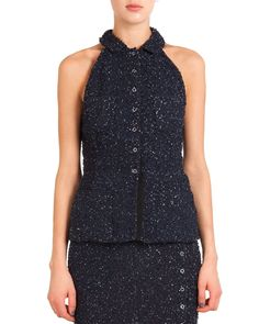 Button-Front Sequined Halter Top, Size: 40, MARINE FONCE - Nina Ricci