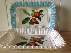 Pair 1960s Kitsch Woven Bread or Fruit Baskets - Fruit design - one blue - one white - Oblong Shape - Vintage Table Baskets by Onmykitchentable on Etsy