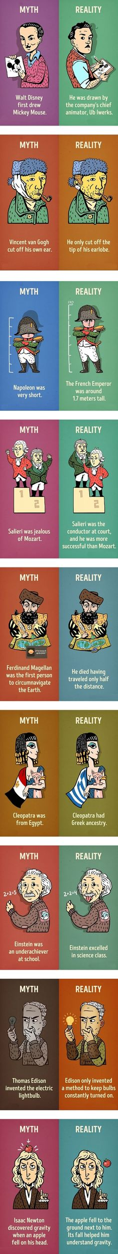 This is the funniest collection of images relating to myth vs reality, this funny pic presents the reality against the myths surrounding these historical people The More You Know, Good To Know, Wtf Fun Facts, Random Facts, Random Stuff, Interesting History, Interesting Facts, History Facts, Things To Know