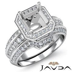 Diamond Bridal Engagement Set Semimount 18K Gold White Asscher Shape Ring 1 45ct | eBay