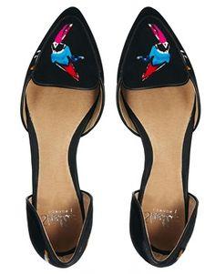 Shellys London Oniradien Bird Print Slip on Shoes