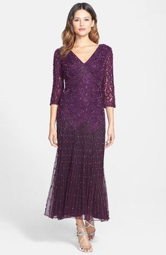 Pisarro Nights PURPLE, PLUM Beaded Mesh, Drop-Waist Gown Dress Sz 10 $189 NWOT in Clothing, Shoes & Accessories, Women's Clothing, Dresses | eBay