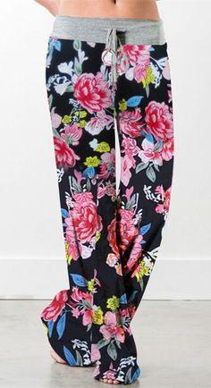 Floral Print Drawstring Wide Leg Pants