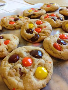 Chocolate Chip Reece's Pieces Cookies | Linda in the Kitchen