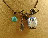 Blue Owl Necklace. Porcelain Owl on Antiqued Brass Branch