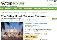 The Betsy is #1 on TripAdvisor for Miami Hotels!  We're so excited, and it is all due to our great guest reviews.  Thanks for making us #1!