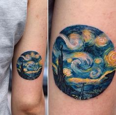 This starry night tattoo might be . A Starry Night Circle. This starry night tattoo might be .A Starry Night Circle. This starry night tattoo might be . Pretty Tattoos, Unique Tattoos, Beautiful Tattoos, New Tattoos, Body Art Tattoos, Small Tattoos, Tatoos, Van Gogh Tattoo, Van Gogh Tatuaje