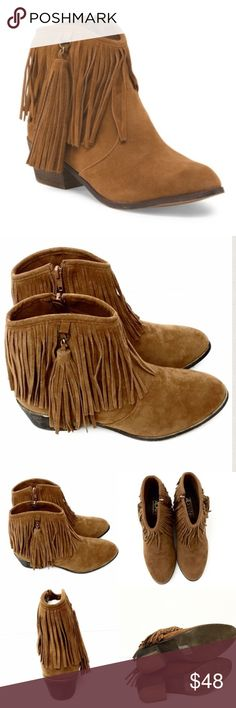 "Adriana New York Western Chic Rust Fringe Booties You'll look western chic with these cognac fringe booties! They are gorgeous and will add a stylish look to any outfit from shorts to jeans or even a swimsuit! They are cognac colored faux suede with detailed fringe detail, tassel pull side zip and round toe. Approx 2"" heel. They are European sizes and run a whole size small- I have adjusted the size on the listing so they will fit. I have a size 8 that fits a size 7 and 8.5 that fits the…"