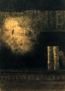 """Odilon Redon, Vision: Berenice's Teeth, c. 1885, charcoal on paper, 51.2 x 36.6 cm 'Drawing based on Edgar Allan Poe's """"tale of a madman who becomes obsessed with the perfection of his cousin Berenice's teeth: 'Would to God that I had never beheld them, or that, having done so, I had died!' In a fit of violence he kills her by ripping the teeth out of her head with his bare hands... 'The teeth! the teeth! - they were here, and there, and everywhere, and visible and palpably before me!'"""""""