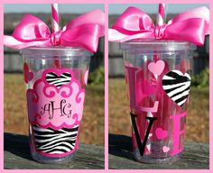 Cupcake Tumbler with monogram - Personalized Acrylic Diy Tumblers, Acrylic Tumblers, Monogram Tumblers, Personalized Tumblers, Valentine Day Cupcakes, Happy Valentines Day, Valentine Ideas, Cheer Gifts, Cheer Mom
