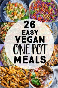 26 Easy Vegan One Pot Meals – I've rounded up 26 delicious vegan dinner recipes that are made in just one pot! A lot of them take only 30 minutes to make! Tons of vegan one pot recipes including soup, stir fry, pasta, Mexican and more! Cheap Vegan Meals, Healthy One Pot Meals, One Pot Vegetarian, Easy One Pot Meals, Healthy Steak, Kids Vegan Meals, Simple Vegan Meals, Vegan Weeknight Meals, Easy Vegan Dinner
