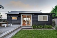 Simple lines with long view from patio doors not blocked by outdoor furniture (Karen Akers Gerroa beach house). Beach Shack, Surf Shack, Coastal Style, Modern Coastal, Beach Cottages, House Painting, House Colors, Land Scape, Future House