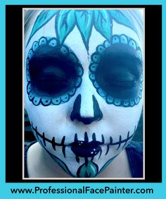 We receive Day of the Dead, sugar skull face painting requests year round.   It's always a holiday with face painting!   #ProfessionalFacePainter #OrangeCounty #Newport
