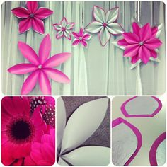 Paper flowers made easy! Step 1. Use plain craft paper cut out into petal shapes. Step 2. Spray glue tissue paper to each petal. Step 3. Fold and hot glue to form petal shape at the base. Step 4. Arrange petals around a center to create the perfect paper flower decoration!