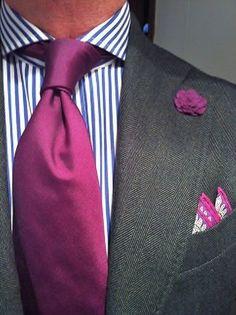 Men's Charcoal Blazer, White and Blue Vertical Striped Dress Shirt, Purple Silk Tie, Purple Paisley Silk Pocket Square