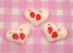 """White Heart & Strawberry Flat Back Resin Kawaii Cabochons"" -- cute!"