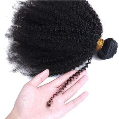 Mongolian Afro Kinky Curly Human Hair Bundles (Natural Color) - 14 16 18and12closure