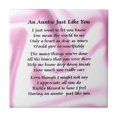 Special Aunt Poems Quotes Quotesgram Projects To Try Aunt