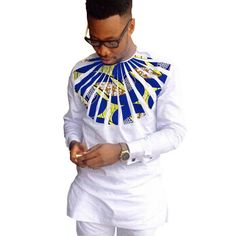 Men African Couture Print Long Sleeve Shirts Custom Fit