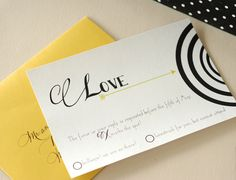 archer wedding suite  invitation with black, white and hint of chartreuse on the arrow   #invitation #arrow