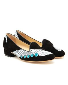 holly fowler hand painted velvet dress slippers