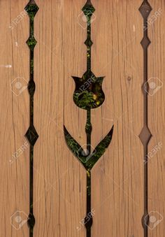 Picture of Cutout tulip motive on wooden fence stock photo, images and stock photography. Porch Balusters, Photo Cutout, Wooden Fence, Banner Printing, Facebook Image, Single Image, Painting Tips, Image Photography, Wood Art