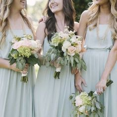 Gorgeous flowers and our fresh Celadon color are the perfect Spring combination.  #DessyRealWeddings  Via @bellabridesmaids