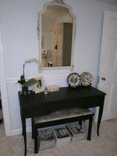 Bedroom ~ Incredible mirror found at antique store; console was originally dark brown