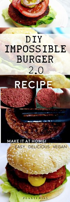 DIY Impossible Burger 2.0 Make it at Home for $1 each! Recipe is Vegan Gluten-Free & Easy to make from simple ingredients! From Planted365 in the Veganosphere #veganburger #impossibleburger #veganrecipes #veganburgerrecipe #plantbasedburger #beyondburger #veggieburger #budgetvegan #planted365 #veganosphere
