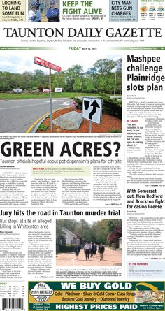The front page of the Taunton Daily Gazette for Friday, May 15, 2015.