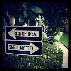 """Halloween sign - would be cute with other sayings too.... like """"witch way"""" and"""