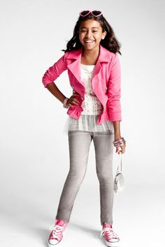 Pink jacket and shoes. Grey jeans. SO CUTE!